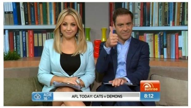 Andrew O'Keefe give thumbs up the Bullet Train Australia party on Weekend Sunrise.