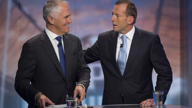 All smiles: Coalition communications spokesman Malcolm Turnbull and Opposition Leader Tony Abbott at their broadband ...