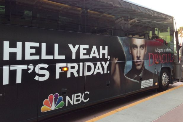The marketing is everywhere at Comic-Con. The shuttle buses are moving billboards; this bus is promoting the new NBC ...
