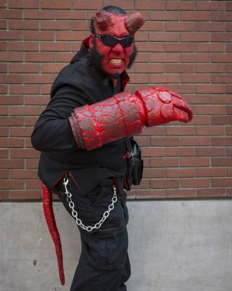 Cosplayer Saturnino Turtle Martinez III as comic book character Hellboy during the 2013 San Diego Comic-Con.