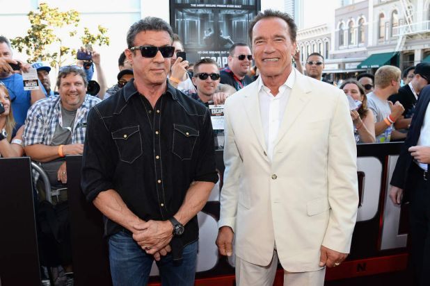 Sylvester Stallone and  Arnold Schwarzenegger at the <i>Escape Plan</i> premiere during Comic-Con.