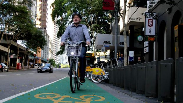 Journalist Daniel Nancarrow riding a CityCycle bike during the scheme's early days.