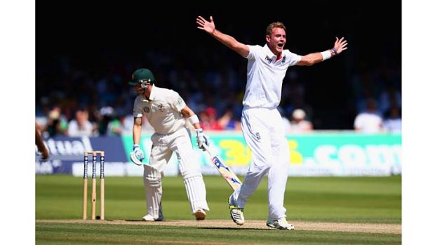 Stuart Broad traps Michael Clarke lbw during the post-lunch session of day two.