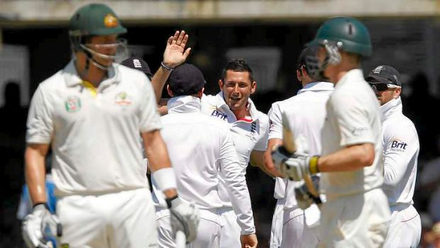 Bad referral: Tim Bresnan (C) celebrates taking the wicket of  Shane Watson who unsuccessfully referred an LBW decision ...