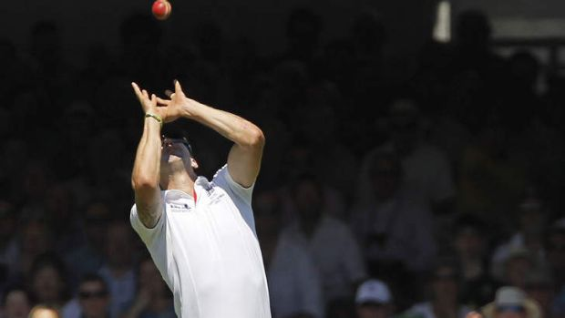 Soft dismissal: Kevin Pietersen catches out Usman Khawaja.