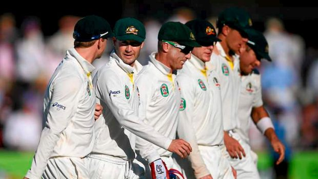 A conga line of failure: Michael Clarke leads the Australian team from the field.