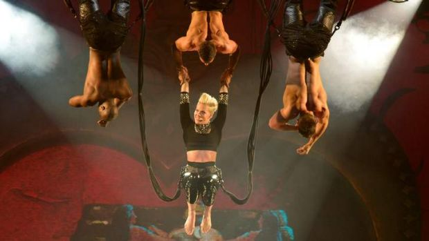 Pink bounces into action at her Melbourne show earlier this month.