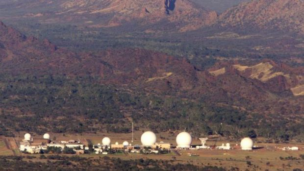 Spies in the Never-Never: An aerial view of Pine Gap, the joint US-Australian listening and tracking base at the foot of ...