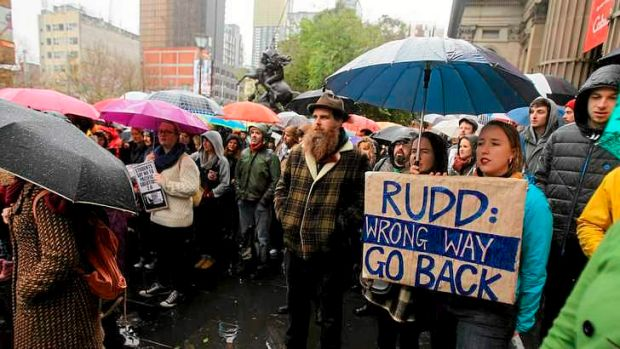 Protesters at a rally in the city against Prime Minister Kevin Rudd's new asylum seeker policy.
