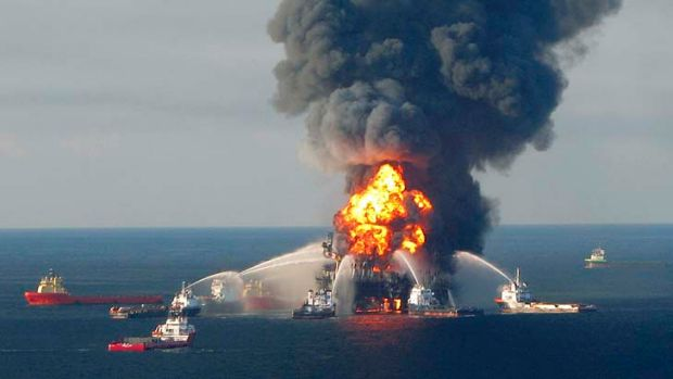 Fire boat response crews battle the blazing remnants of the offshore oil rig Deepwater Horizon in 2010.