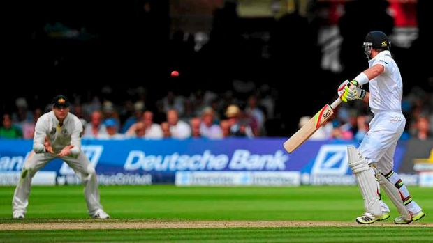 Controversy: Steven Smith prepares to catch from Ian Bell. The third umpire ruled the ball did not carry.