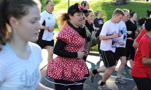 Participants start off on the 10km run of The Age Run Melbourne in St Kilda Road.