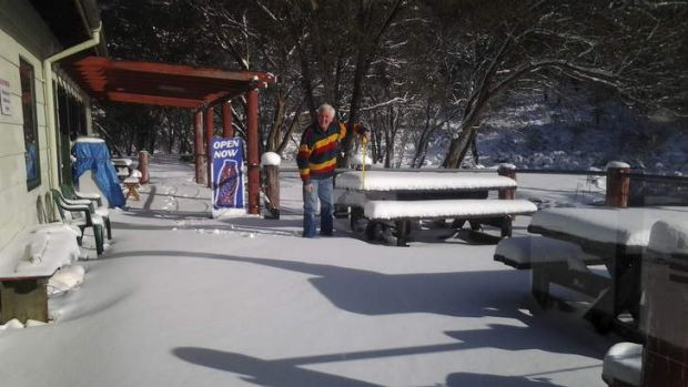 Snow at Corin Forest forced managing director Merrick Watters to close the recreation park over the weekend.