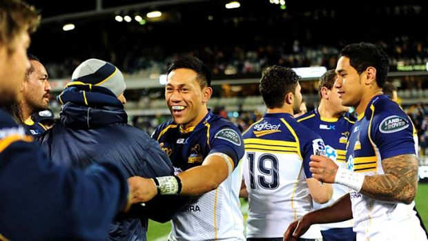 Solid foundations: Brumbies player Christian Lealiifano celebrates their win against the Cheetahs.