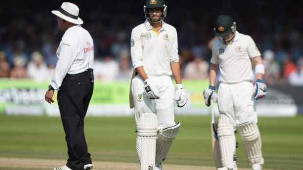 More DRS controversy: Ashton Agar is dejected after been given out by the third umpire despite Hot Spot showing no edge.