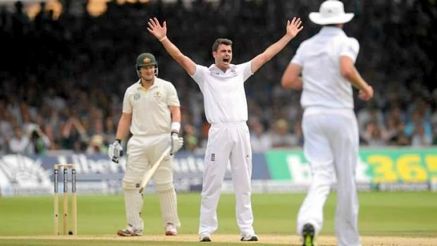 Seen that film before? Shane Watson is out lbw to James Anderson.