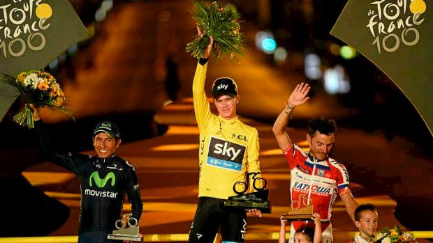 The podium finishers: Race winner Chris Froome of Britain, Nairo Quintana of Colombia (L) and Joachim Rodriguez (R) of Spain.