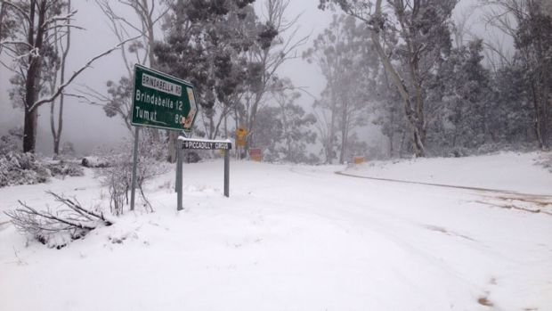 Roads were closed in Canberra's south and west due to heavy snowfall over the weekend.