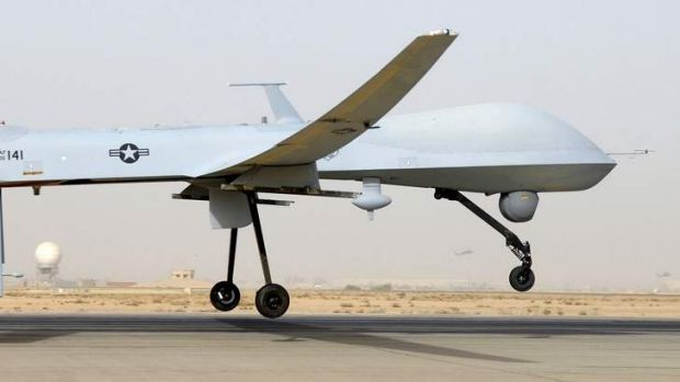 An MQ-1B Predator from the 46th Expeditionary Reconnaissance Squadron takes off from Balad Air Base in Iraq in 2008.