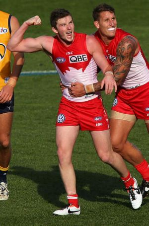 """It helps me to have a bit of space because it just opens up a bit"": Jed Lamb of the Sydney Swans."