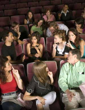 Mobile manners: Don't use your phone in silent places such as theatres.