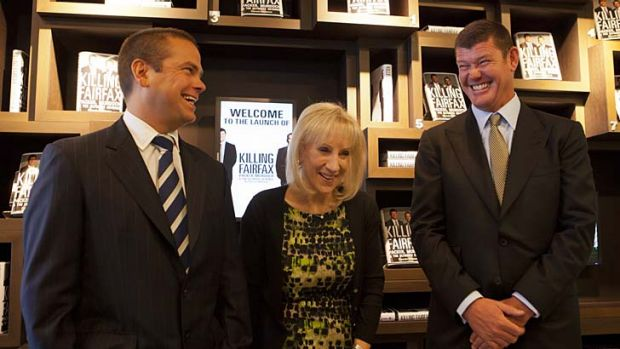 Three's company: Lachlan Murdoch, left, Pamela Williams and James Packer. Williams said both men spoke freely and frankly.