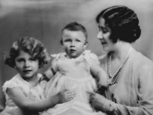 Princess Elizabeth, Princess Margaret (centre) and their mother, Elizabeth, in 1931.