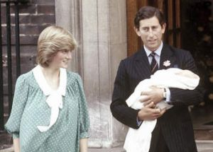 Princess Diana with Prince Charles and the infant William in 1982.