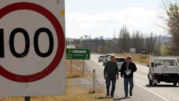 Murrumbateman locals Bill Bladwell and right  Peter  McGinnley on the notorious Barton Highway, pictured here in 2010.