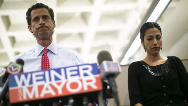 Disgraced: Anthony Weiner, pictured with his wife Huma Abedin.
