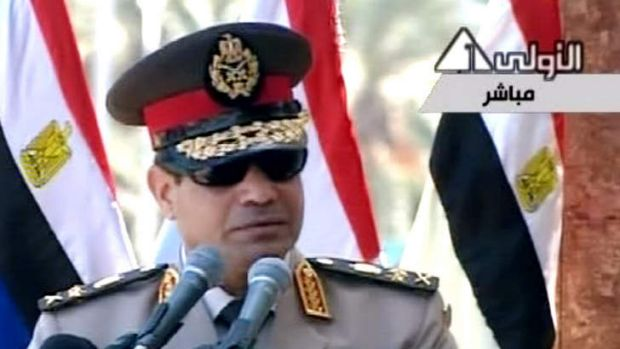 Egyptian Defence Minister General Abdel-Fattah el-Sissi delivers a speech calling on Egyptians to hold mass ...
