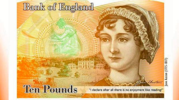 The Bank of England's concept image for the new ten pound note featuring Jane Austen.