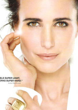 Photoshopped: Andie MacDowell in an advert for L'Oreal.