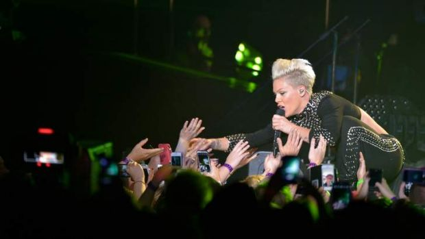 Pink bounces into action on the first night of her The Truth About Lover tour at Melbourne's Rod Laver Arena.