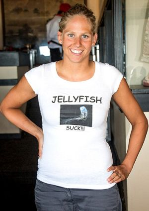 "Chloë McCardel: Took to wearing a T-shirt that said ""Jellyfish suck!!!"""