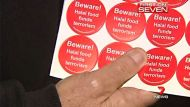 Anti-Islam stickers which were found on coffee jars at Woolworths Underwood