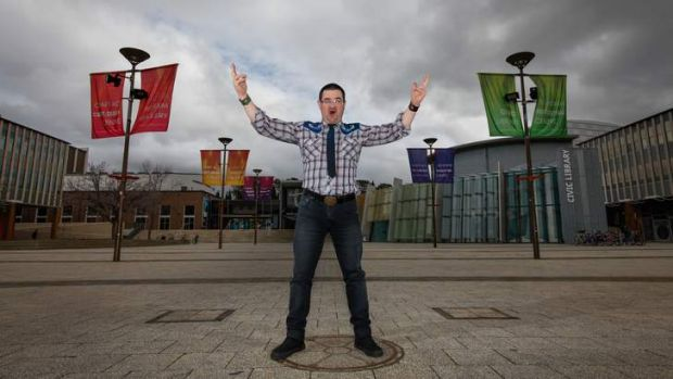 Gardner in Civic Square after being reappointed the position of creative director for the Canberra Fringe Festival.