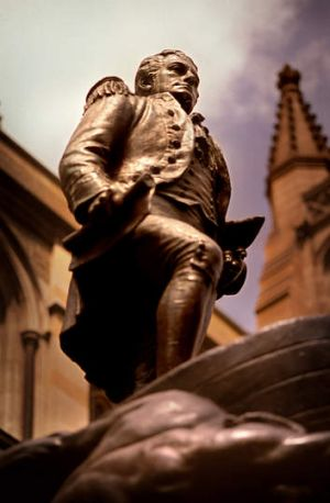 The statue of Matthew Flinders beside St Pauls Cathedral in the city.