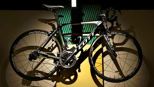 Tarnished memento: Stuart O'Grady's 2012 team bike hangs at the National Sports Museum as part of the exhibition on how ...