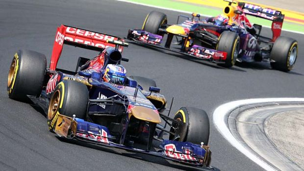 Daniel Ricciardo (left) and Red Bull's Mark Webber during the second practice session at the Hungaroring circuit in Budapest.