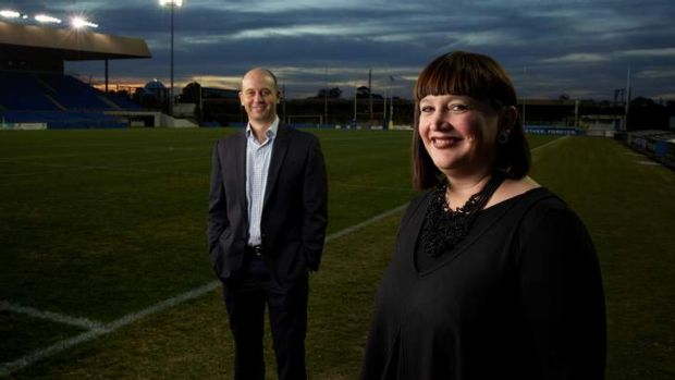 Baton change: Bulldog bosses Todd Greenberg and Raelene Castle at Belmore Sports Ground.