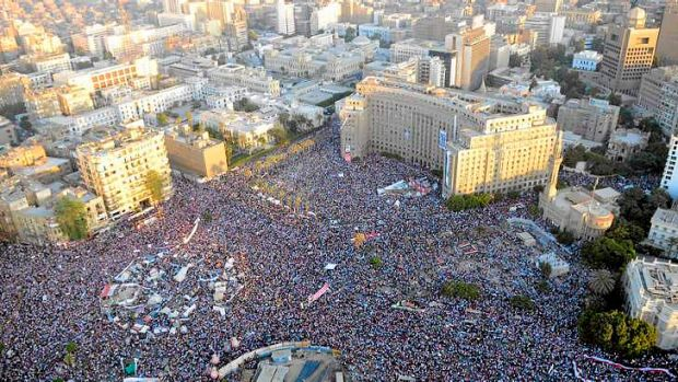 A handout picture released by the Egyptian army on July 27, 2013 shows an aerial view of to Cairo's Tahrir square ...