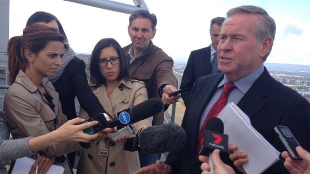 Colin Barnett announcing plans for the City of Perth council reforms.