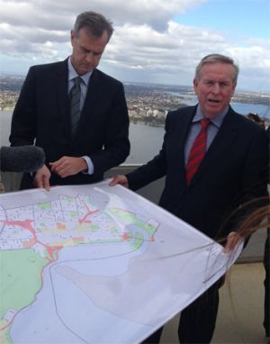 Colin Barnett first announced the plans from the rooftop of Perth's Central Park office tower on Sunday.