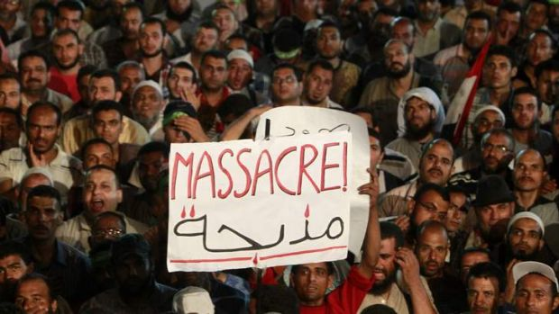 Rally: Supporters of Mohammed Mursi take part in a protest at the Rabaa Adawiya square.