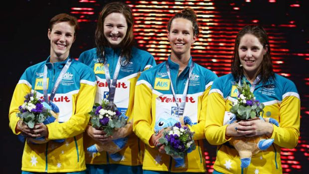 Silver medal winners Bronte Campbell, Cate Campbell, Emma McKeon and Alicia Coutts.