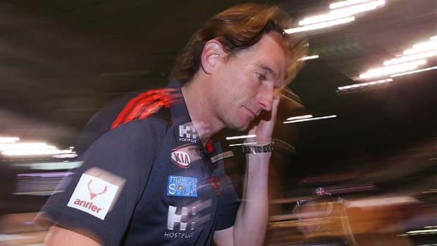 Bombers coach James Hird feels the strain.
