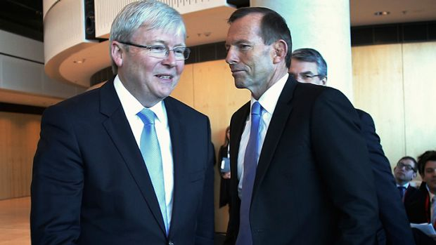 Kevin Rudd and Tony Abbott cross swords in a televised debate on Sunday night.