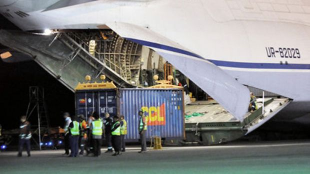 A cargo plane with eqiupment bound for the Manus Island processing centre for asylum seekers.