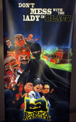 A poster of animated Burka Avenger series is displayed at an office in Islamabad, Pakistan.
